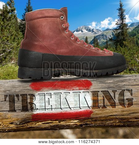 Trekking Boot And Trail Sign