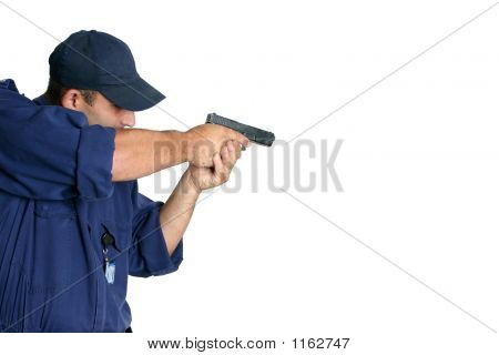 Officer On Duty Handling A Weapon