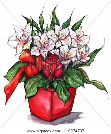 Bouquet Of Rose And Alstroemeria In Red Pot