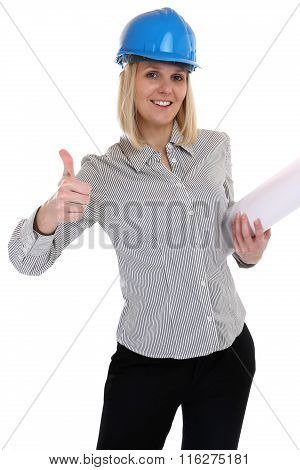 Architect Young Woman With Plan Woman Occupation Job Thumbs Up Isolated
