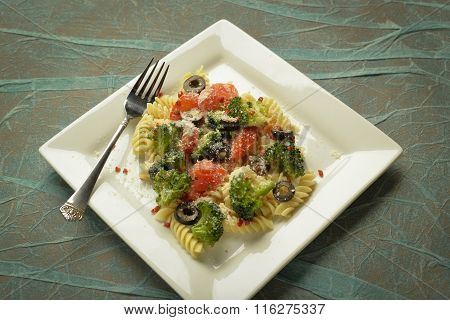 Plate of pasta salad.