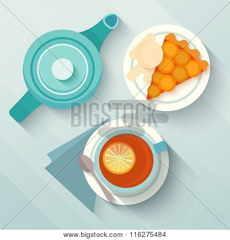 English breakfast with a cup of tea and appricot pie.