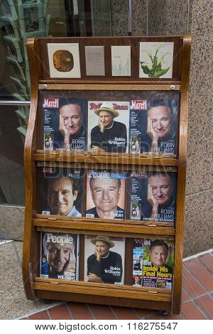 Newsstand With Magazines With Robin Williams On Front Cover Soon After His Death, San Francisco