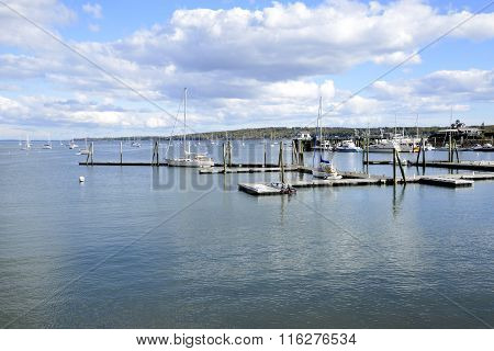 Boats On Rockland Harbor In Maine