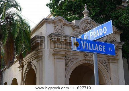 Corner of El Prado and Village Pl in San Diego