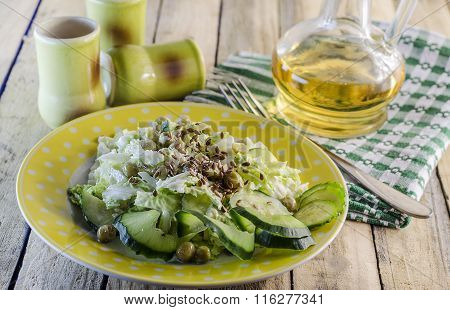 Salad With Green Vegetables And Flax Seed