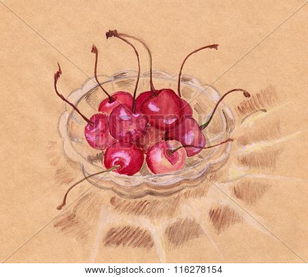 Watercolor Cherry In Crystal Ware Craft Sketch