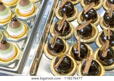 Display Of Delicious Chocolate Pastries