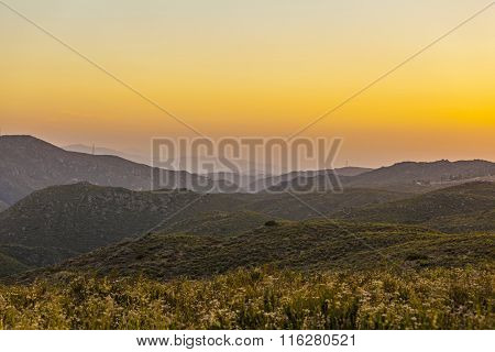 Cleveland national forest in sunset California USA