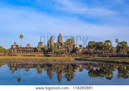 Angkor Wat Temple Reflection In The Pond Water