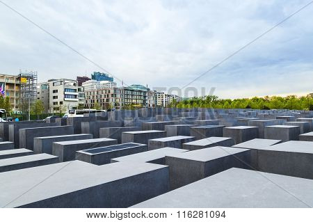 BERLIN, GERMANY - MAY 5, 2015: The Denkmal fur die Juden ermordeten Europe (Memorial to the Murdered Jews of Europe) also known as Holocaust-Memorial Mahnmal at Berlin Germany