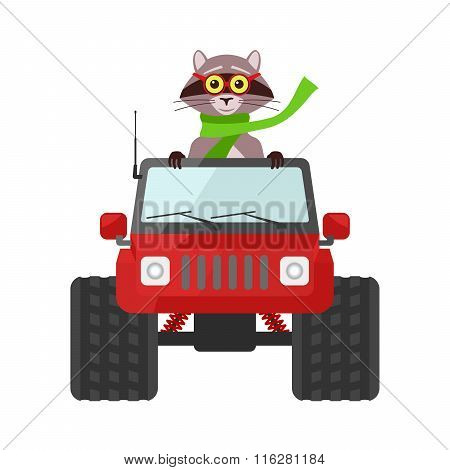 Raccoon Driving A Red Suv Toy Car