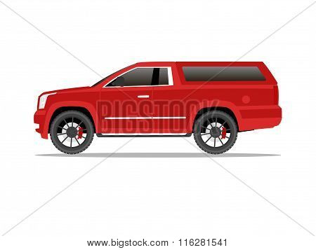 Red Pickup Truck Two Door With Black Wheels And Cap