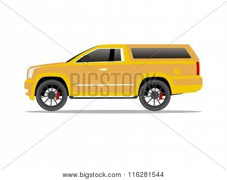 Yellow Pickup Truck Two Door With Black Wheels And Cap