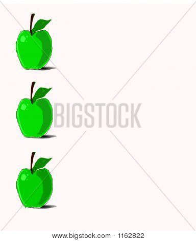 3 Green Apples Border On White Background