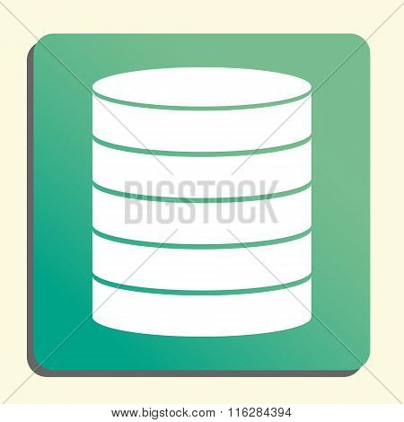 Database White Icon On Green Button Style Background