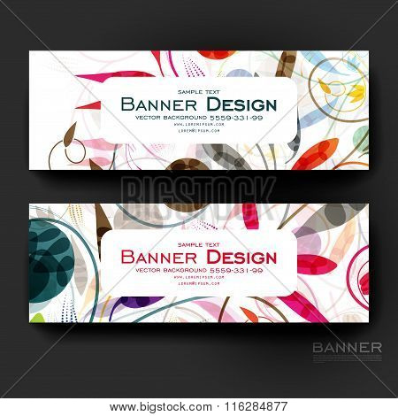 Beautiful banner vector template with floral ornament background
