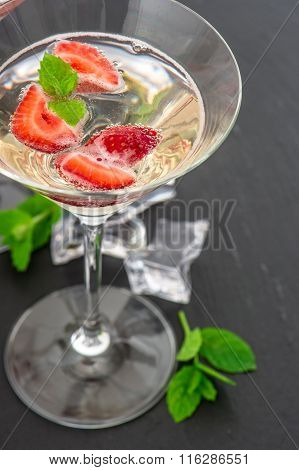 Strawberry Cocktail With Berry. Sparkling Wine And Fresh Fruits