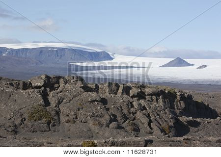 Beautiful lava formation and Langjökull @ Iceland