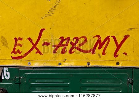 sign ex army on a car in india