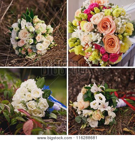 Wedding Collage With Bride's Bouquet