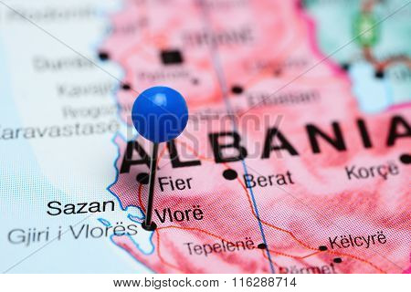Vlore pinned on a map of Albania