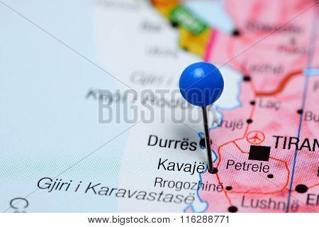 Kavaja pinned on a map of Albania