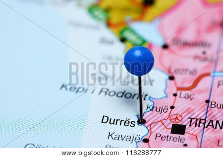 Durres pinned on a map of Albania