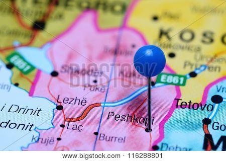 Peshkopi pinned on a map of Albania