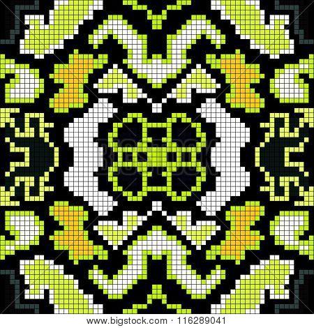 Pixels On A Black Background Geometric Seamless Pattern