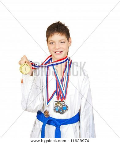Teenage Boy Wearing Winning Medal