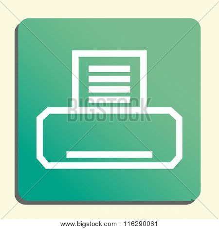 Fax White Icon On Green Button Style Background
