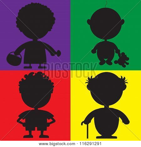 Illustration Of Silhouette Characters For The Children's Book