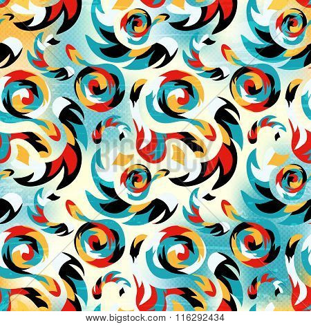 Seamless Pattern Of Graffiti On A Bright Colored Background Abstraction