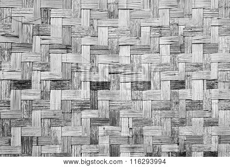 Wall Of Plaited Bamboo Strips Vernecular Outdoor Grey Scale