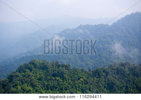 aerial view of ' Kaeng Krachan' tropical rain forest in Thailand