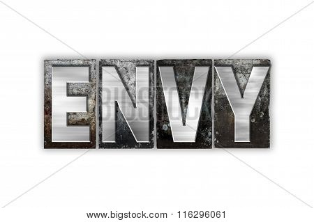 Envy Concept Isolated Metal Letterpress Type