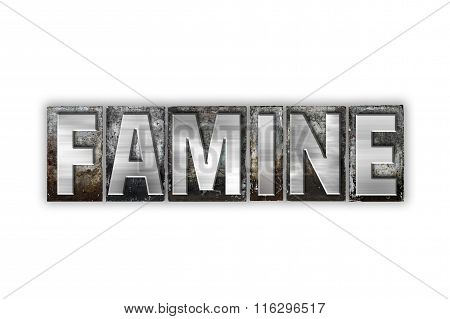 Famine Concept Isolated Metal Letterpress Type