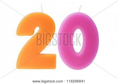 Colorful birthday candles in the form of the number twenty on white background