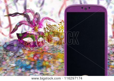 Carnival and female smartphone