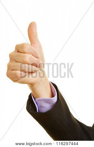 Hand of a woman holding the thumb up