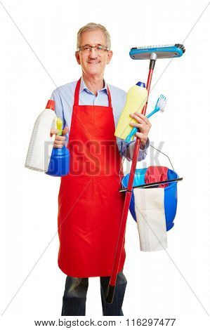 Happy janitor with many cleaning supplies in his hands
