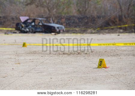 Evidence Number Tag In  Explosion  Vehicle  Crime Scene