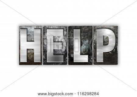 Help Concept Isolated Metal Letterpress Type