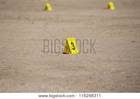 Evidence Number Tag In Crime Scene