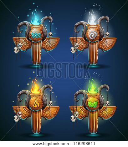 Set Shaman Totems - Symbols Of The Four Elements