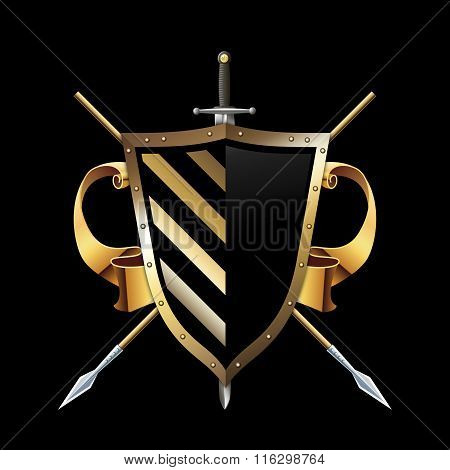 Gold Heraldic Shield With Spears,sword And Gold Ribbon.