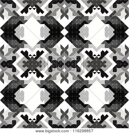 Monochrome Pixels Beautiful Abstract Geometric Seamless Pattern Vector Illustration