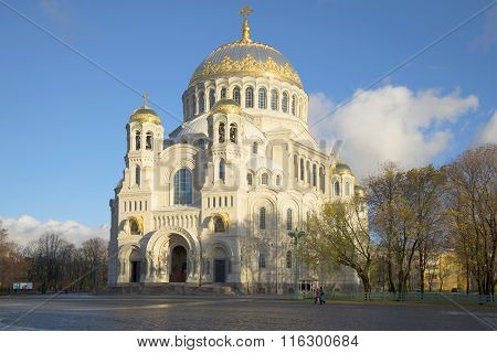 View of the Cathedral St. Nicholas, october evening. Kronstadt, Russia