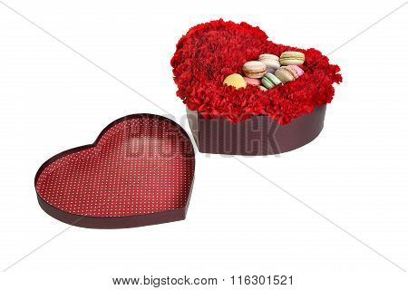The Box In The Form Of Heart, Is Filled By Flowers And Cookies.